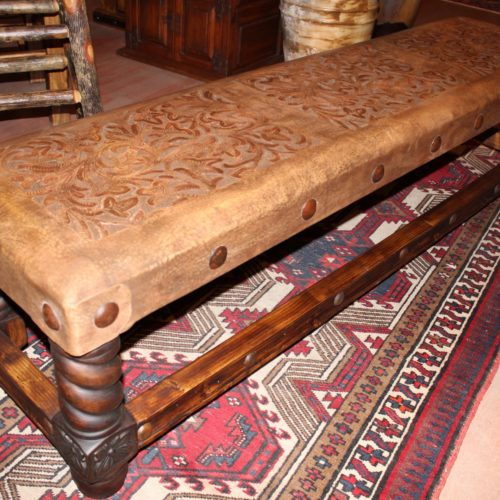 Rey Salomon Tooled Leather Backless Bench in Café
