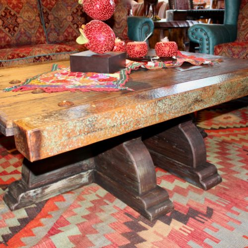 Original Old Ranch Gate Acid Copper Coffee Table