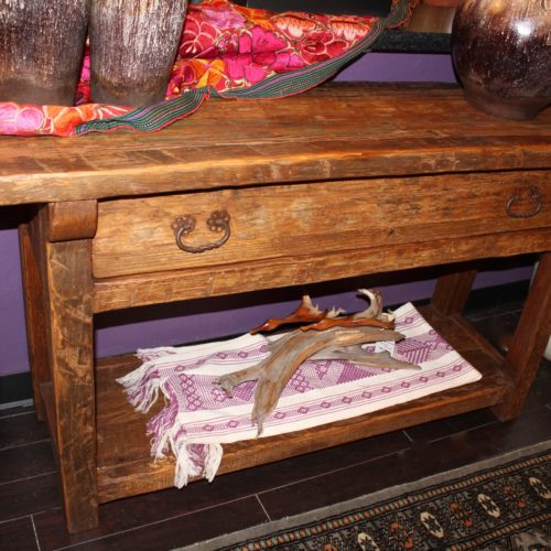 weathered wood sofa table, one or two drawers