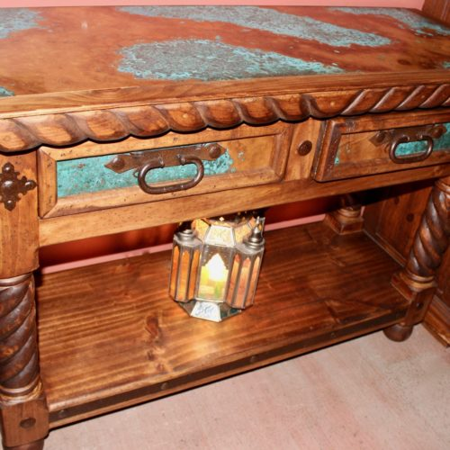 Acid-Wash Copper Sofa Table