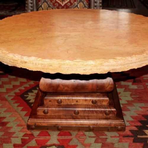 Round Marble Coffee Table on Mesquite Pedestal