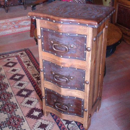 Hacienda Tooled Leather End Table