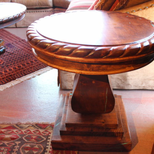 Rope Edge Round Mesquite End Table on Pedestal