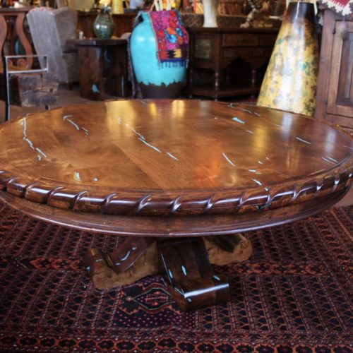 Round Rope Edge Mesquite Coffee Table