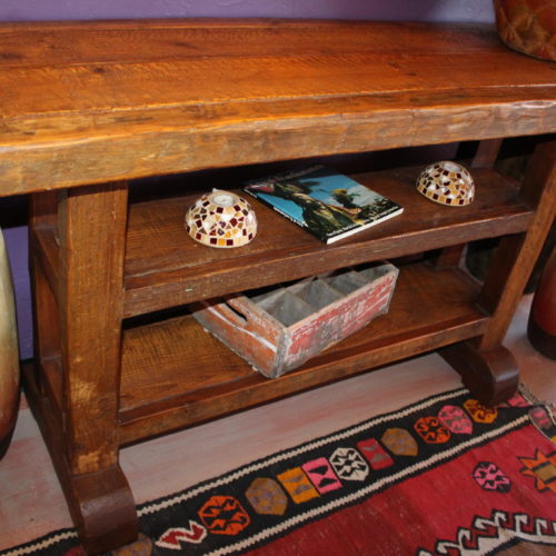 two shelves rustic console table