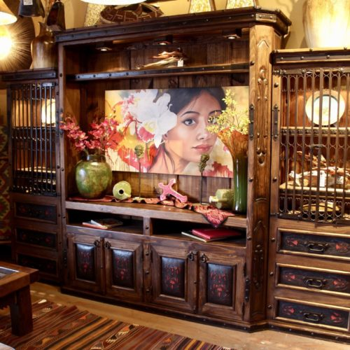 Wildfire Tooled Leather Entertainment Center