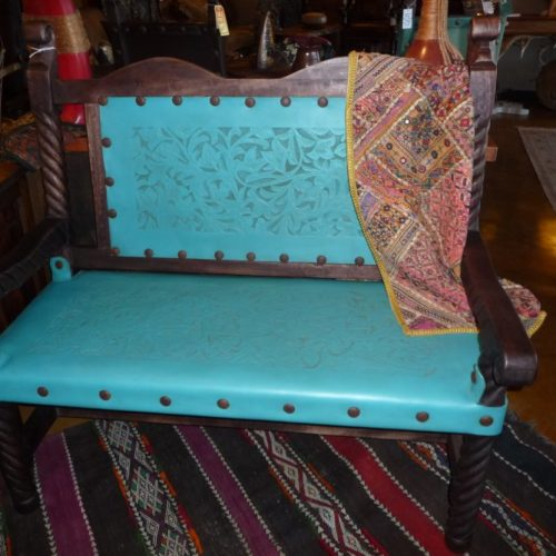 Tooled Leather Bench in Turquoise