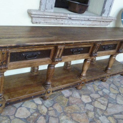 Colonial Style Console Table Iron Inlay