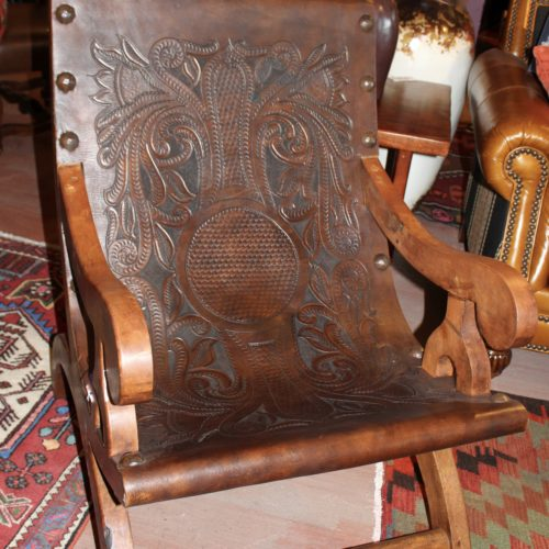 Miguelito Mesquite Tooled Leather Armchair