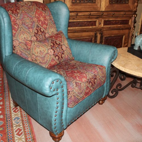 Hindley Cheyenne Turquoise Accent Chair fabric and Leather