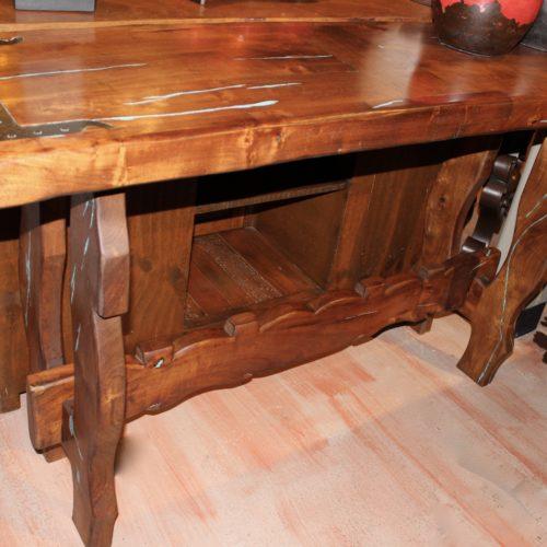 yoke cut mesquite sofa table