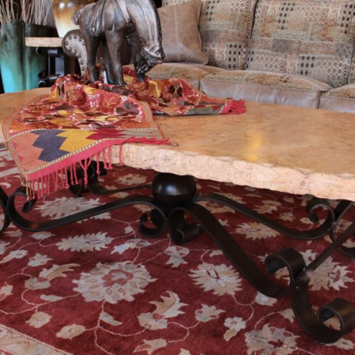 Oval Travertine Coffee Table with Forged Iron Base