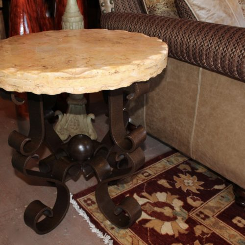 Travertine Top End Table on Iron Base