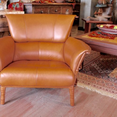 Navajo Armchair leather and palm Wood