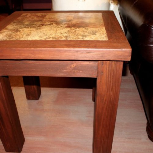 Travertine Inlay End Table