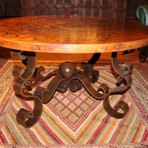 Round Copper Iron Base Coffee Table