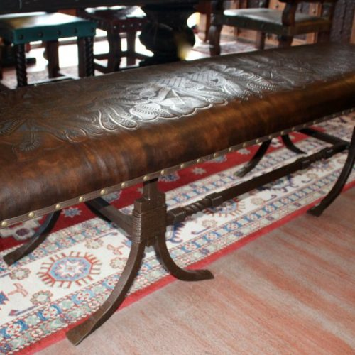Forged Iron No Back Bench tooled leather