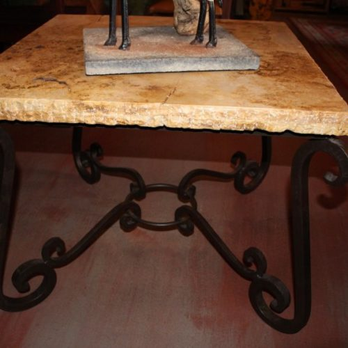 Marble End Table with Iron Base