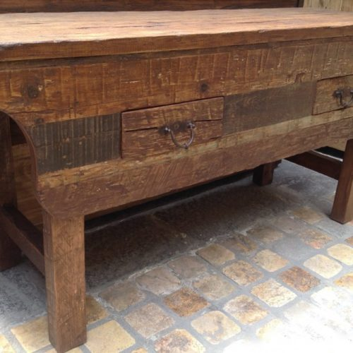 weathered wood console table