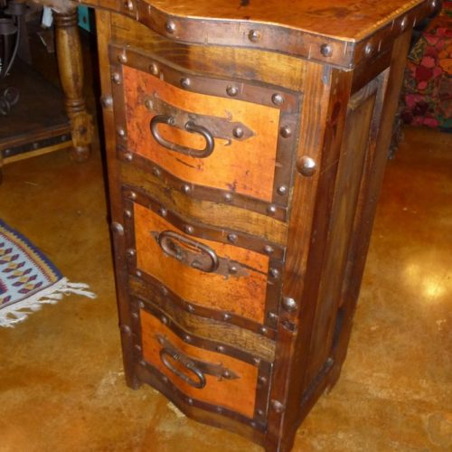 Pepe Copper End Table/ Mini Chest of Drawers