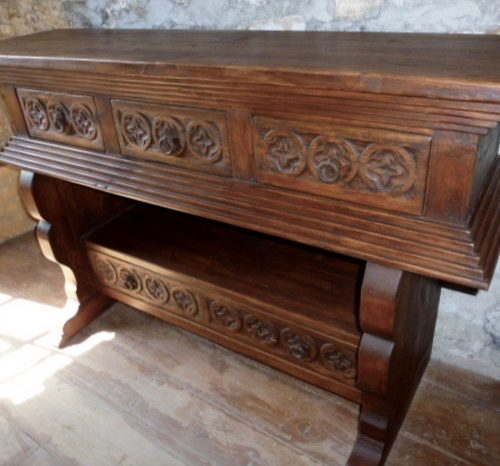 hand carved wood sofa table