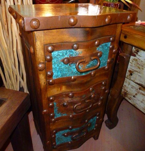 Pepe Acid Wash Copper End Table/ Mini Chest of Drawers