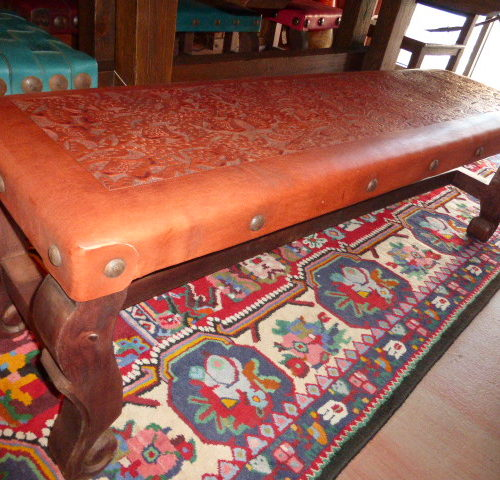 Argentina Tooled Leather No Back Bench in Red Inglès