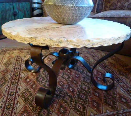 Round Marble coffee Table with Forged Iron base