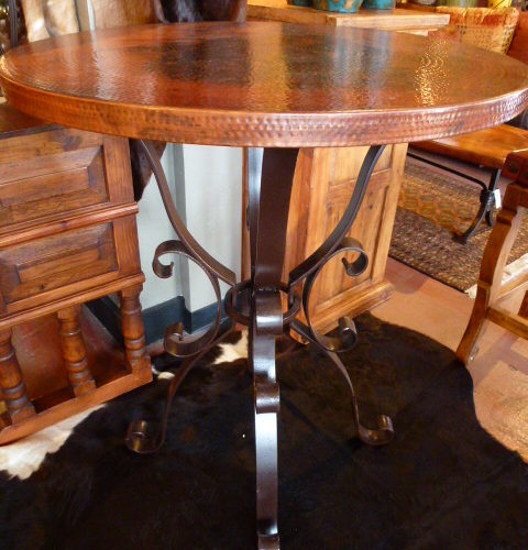 Copper Bistro Table with Iron Base