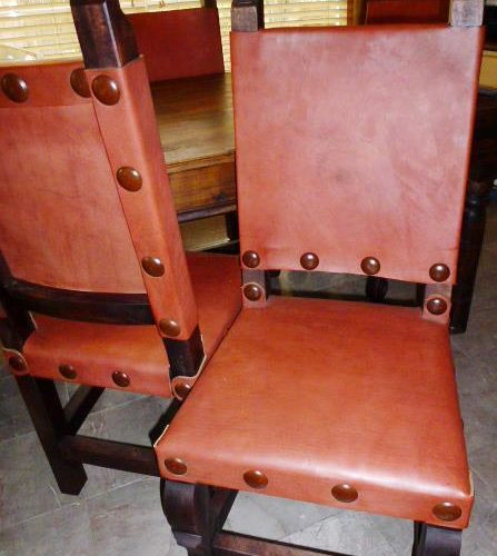 rust leather chair