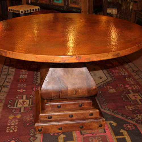 Round Copper Table on Mesquite Pedestal