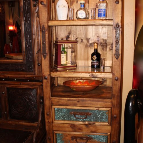 Hacienda Acid Washed Copper Narrow Bookcase