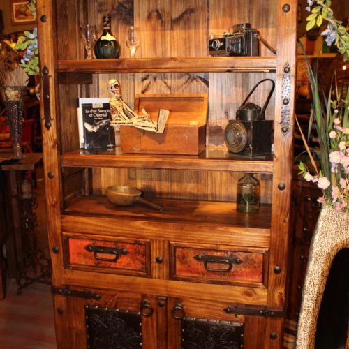 Hacienda Tooled Leather & Copper Bookcase