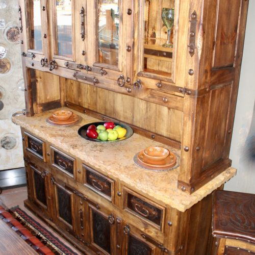 Hacienda Tooled Leather hutch