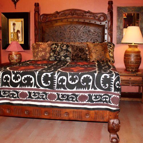 Tooled Leather Platform Bed
