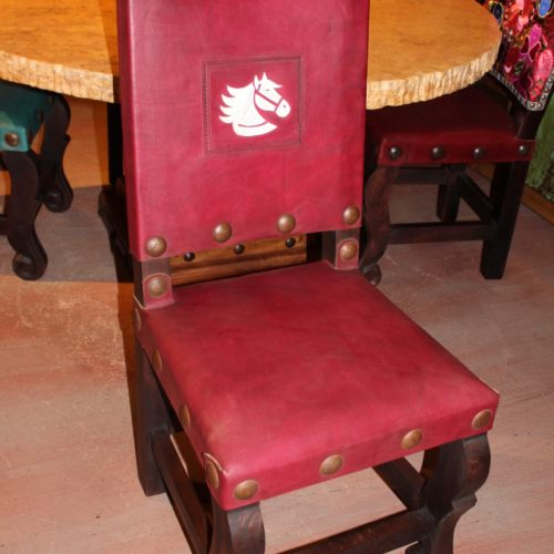 Embroidered Horse Argentina Chair in Red Guinda