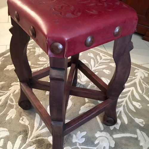 Argentina Tooled Leather Stool in Red Guinda