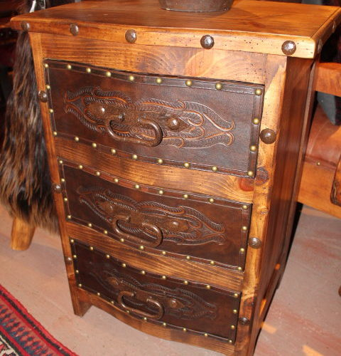 Curved Tooled Leather Nightstand
