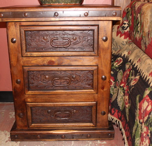 Hacienda Tooled Leather Nightstand