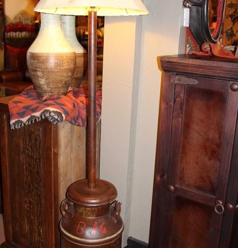Old American Milk Can Floor Lamp with Sheep Skin Shade