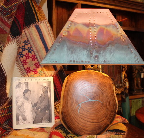 Mesquite Table Lamp with Turquoise Inlay