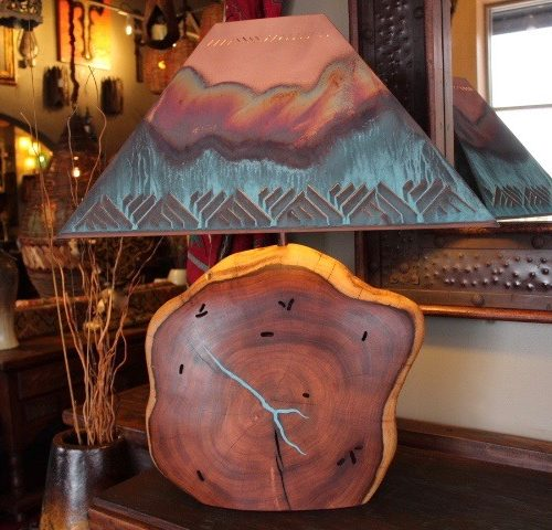 Oversize Mesquite Table Lamp with Turquoise Inlay
