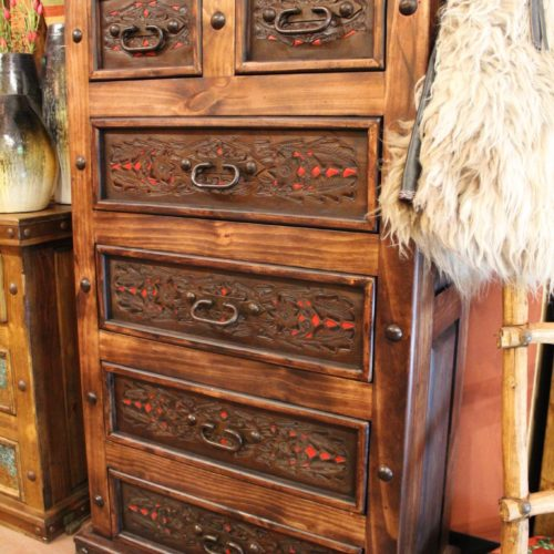 Hacienda Tooled Leather Tallboy in Red