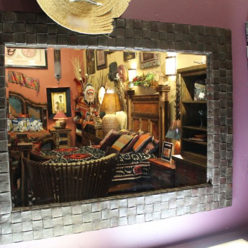 Peruvian Woven Leather Mirror