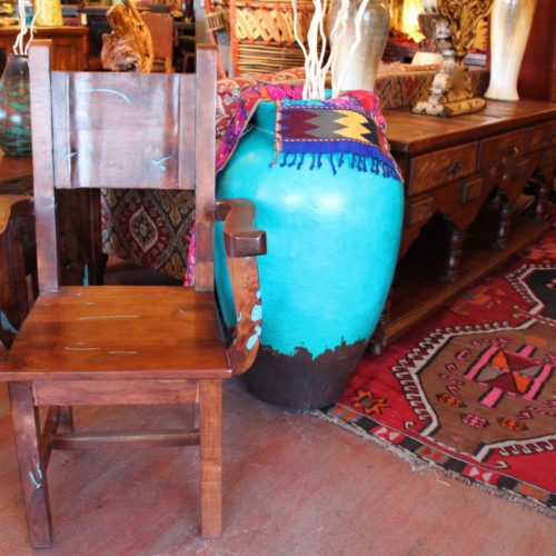 Mesquite Armchair with Turquoise Inlay