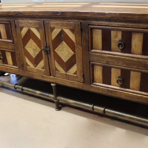 Mesquite Inlay Buffet with Iron Base
