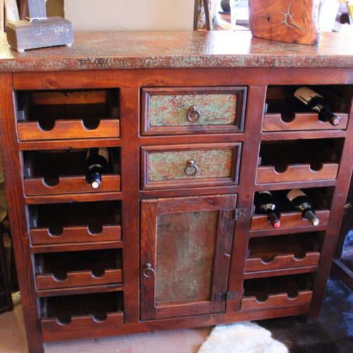 Acid Wash Copper Wine Cabinet