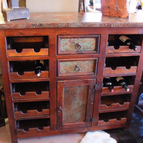 Acid Wash Copper Wine Cabinet