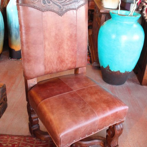 Western Tooled Leather Chair in Café