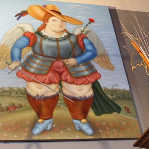 """Botero Style Original Painting of """"Archangel Michael with Flower"""""""